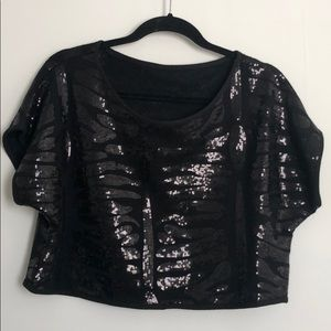 Black Cropped Sequence Top